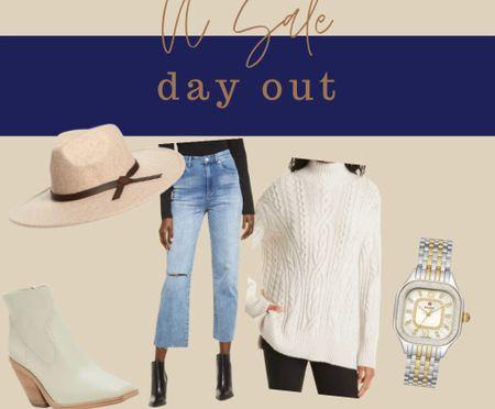 Designer picks NSale Nordstrom sale Anniversary  Vince oversize sweater Mom jeans Suede booties Fall hat Diamond Michele watch   #LTKstyletip #LTKunder100 #LTKshoecrush