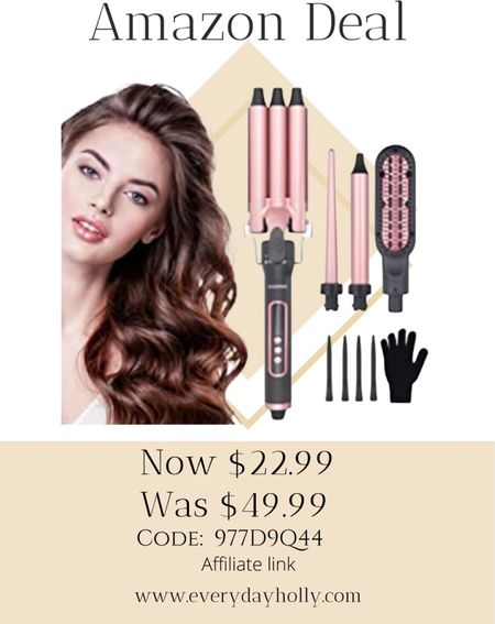 Amazon deal! 🎁🎄 4 in 1 Hair Curling Iron Set with Hair Straightener Brush Rapid Heating Ceramic Hair Curler with LCD Temp Control,Hair Crimper with Glove&4 Hair Clips 50% off Code: 977D9Q44  Gifts for teens • gifts for teen girls • gifts for her  #LTKsalealert #LTKGiftGuide #LTKbeauty