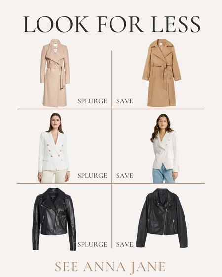 Get The Look For Less On Fall Outerwear 🙌🏼  #getthelookforless #savevssplurge #savevsspend #fallfashion #fallstyle #falljacket #blazer #coat #motojacket  #LTKSeasonal #LTKstyletip #LTKunder100