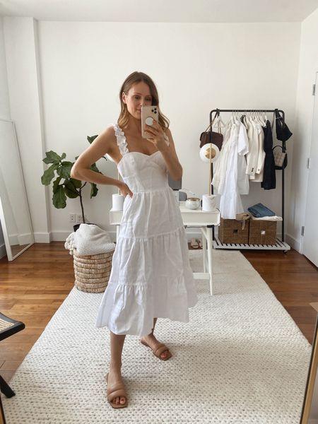 Reformation montecito linen dress (TTS, wearing a small) summer midi dress, white dress   #LTKwedding #LTKSeasonal