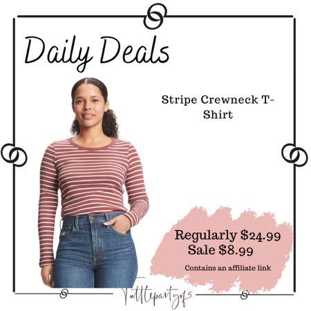 Stripe Crewneck T-Shirt    #LTKsalealert #LTKstyletip #LTKunder50