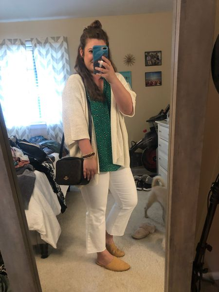 Brunch outfit // workwear outfit // white jeans // Walmart finds // coach outlet // coach purse   #LTKunder50 #LTKstyletip #LTKitbag