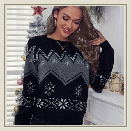 Geo and snowflake pattern Christmas holiday sweater from Shein   #LTKunder50 #LTKHoliday #LTKstyletip