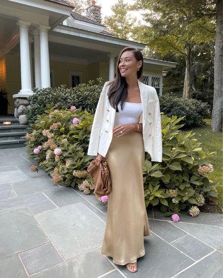 Silk skirt with bodysuit and blazer.   #LTKstyletip #LTKitbag