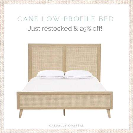 This beautiful cane bed was just re-stocked and is currently 27% off! More affordable than most cane beds out there and available in both queen and king sizes! - home decor, coastal decor, beach house decor, beach decor, beach style, coastal home, coastal home decor, coastal decorating, coastal interiors, coastal house decor, beach style, neutral home decor, neutral home, natural home decor, queen cane bed, king cane bed, coastal bedroom furniture, cane furniture, cane bedroom furniture, low profile cane bed, cane headboard, wayfair bedroom furniture, beds on sale  #LTKhome #LTKfamily #LTKsalealert