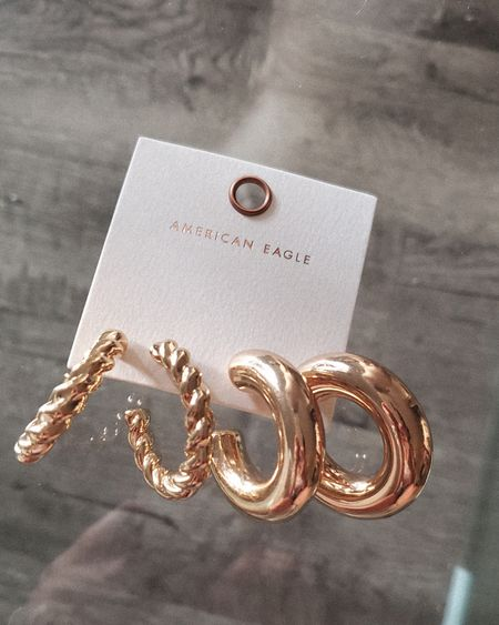 These gold chunky hoops are so cute and lightweight http://liketk.it/3kgSr @liketoknow.it #liketkit #LTKunder50 #LTKstyletip