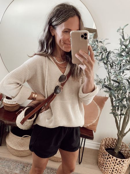 Black pull on shorts (with pockets) + ribbed cashmere pullover from June's capsule wardrobe… perfect for a cool summer day //   #LTKstyletip