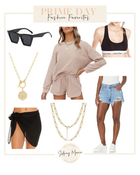 Amazon prime day fashion favorites Black sunglasses  Levi 501 denim shorts Gold necklaces jewelry  Black cover up skirt sarong Calvin Klein sports bra bralette Loungewear   @liketoknow.it http://liketk.it/3i8Dj #liketkit #LTKunder50 #LTKsalealert #LTKstyletip