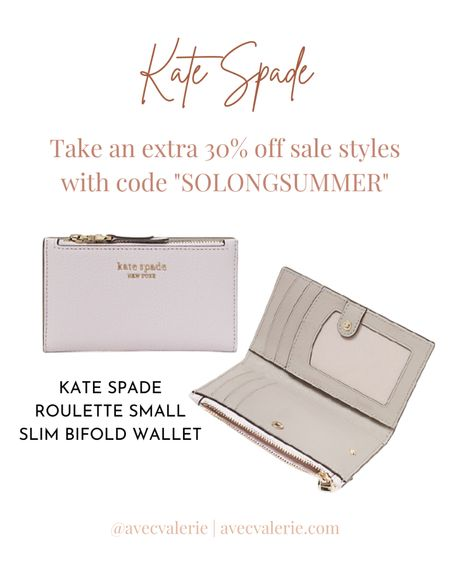 One item you'll want to grab during the Kate Spade sale is the Roulette Small Slim Bifold Wallet. It features pebbled leather with faille lining. The bifold wallet comes with a snap closure, card slots, slip pockets, a zipper coin pocket, and an ID window. The wallet is available in the colors Peach Melba, Laurel Green, and Deep Pansy. Originally $110, the Roulette Small Slim Bifold Wallet is now $88 with an extra 30% off.  #LTKitbag #LTKSeasonal #LTKsalealert