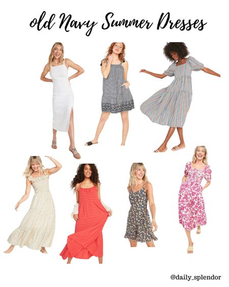 New and fun style dresses from old navy!   #sundress #summerdress #floraldress #linendress #summeroutfit #smockeddress   #LTKunder50 #LTKSeasonal #LTKsalealert