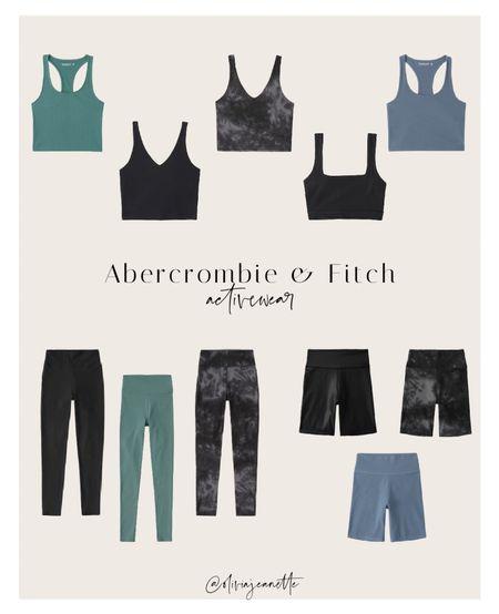Abercrombie & Fitch activewear for fall. 🤎   Leggings, biker shorts, crop tops, workout wear, active, crop, tank, sports bra