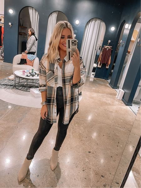 Fun weekend look // wearing small in spanx leggings, xs in white tee & flannel button down, boots tts // fall outfit   #LTKshoecrush #LTKunder100 #LTKstyletip