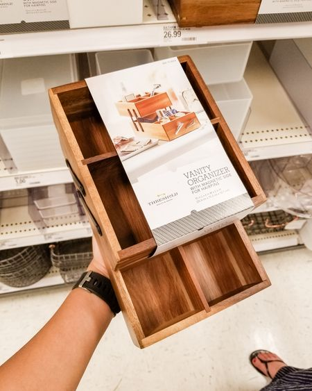 Target home finds, wooden organizer with magnetic front, hinged vanity organizer, home organization, targetfavefinds