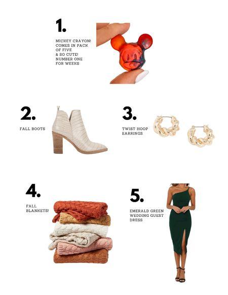 Top sellers last week! Mickey crayons, fall boots, twist hoop earrings, fall blankets, and emerald green wedding guest dress!   #LTKHoliday #LTKhome #LTKwedding