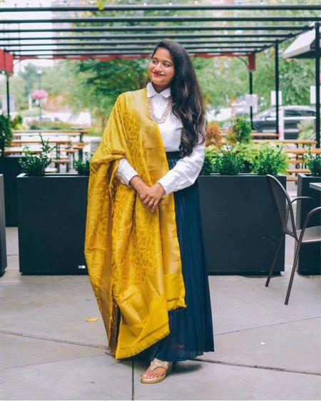 Indo-western outfit, desi look, maxi pleated skirt, white shirt, good wedges, banarasi dupatta, Diwali outfit, Indian festival wear   #LTKSeasonal #LTKstyletip #LTKHoliday