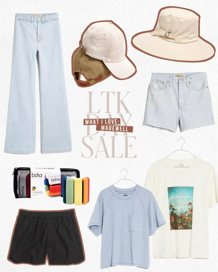 LTK DAY SALE — Exclusive in-app savings from Madewell. Receive $25 off $125 this weekend only when you shop these items and more directly through the LTK app!  — Wide leg jeans — Beach hat — Denim shorts — Ankle/wrist weights — Graphic tees  ...and more summer styles!  #LTKDay #LTKstyletip #LTKsalealert
