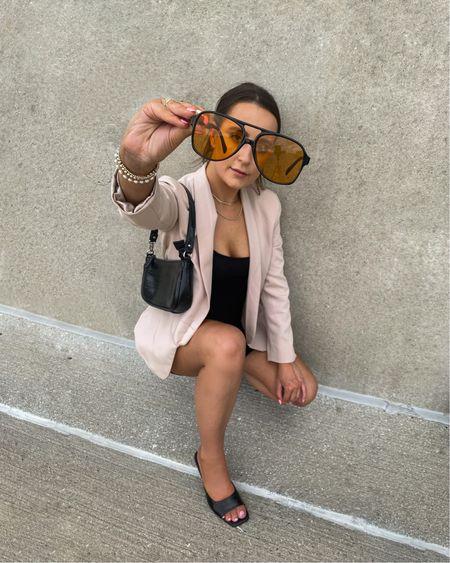 A change of perspective can be a good thing 😎  Business casual, blazer style, tan blazer, neutral outfit, bodysuit, black bodysuit, biker shirt bodysuit, amazon finds, amazon fashion, affordable fashion, affordable outfit, mules, black slide sandals, baguette bag, black croc hand bag  #LTKunder50 #LTKstyletip #LTKunder100