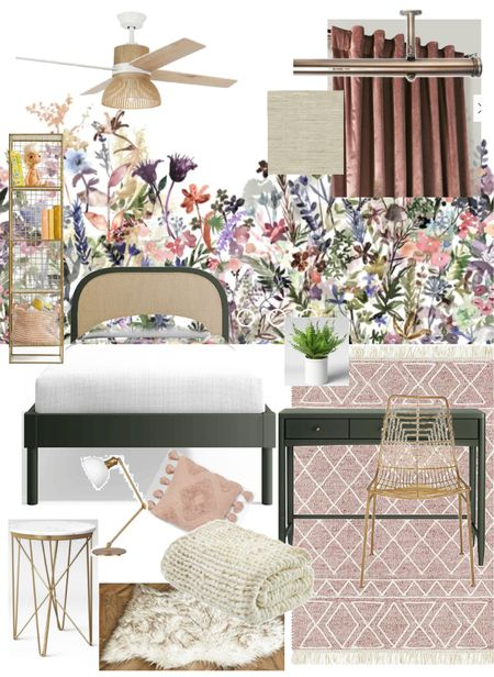 Fairytale girls bedroom with flower wall mural, green desk, cane back bed, velvet curtains, woven rug, and rattan ceiling fan   Wall mural from @rebelwalls  Window shade from @selectblinds  #LTKhome #LTKkids #LTKGiftGuide
