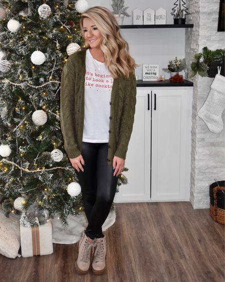 Oh, don't mind the Barbies on the shelf behind me... #momlife! 😅 Have you tried Spanx leggings? Look 3 of my @target holiday haul is cute & casual with a little bit of graphic tee humor 😏🥂 These faux leather leggings are the perfect Spanx dupe for a fraction of the cost. So comfy & each piece can be styled so many ways! Link in bio to shop 🛍 • • • #champaignurbana #chambana #midwest #midwestblogger #cublogger #chambanamoms #holidaystyle #holidaylooks #holidaycasuallook #casualchristmas #christmasstyle #holidayoutfit  #giftsforher #ltk #ltkstyle #ltkunder50 #ltkunder25 #ltkgiftspo #targetstyle http://liketk.it/33Rnv #liketkit @liketoknow.it