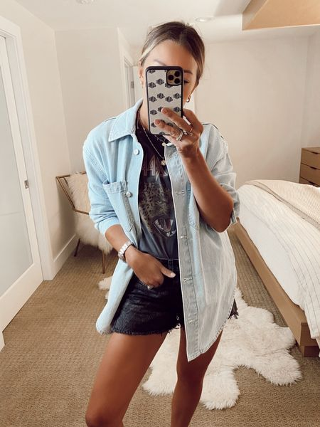 abercrombie outfit, shirt jacket, jean shorts   #LTKstyletip
