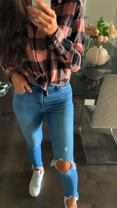 Pink fall outfits  Pink fall plaid shirt  Abercrombie fall stretchy jeans  White Reebok sneakers    #LTKstyletip #LTKSale #LTKunder100