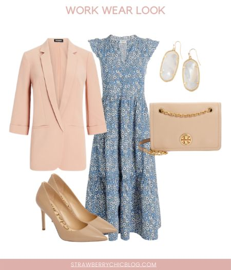 This midi dress is perfect for a summer to fall work wear transition look! Would also make a great look for teachers going back to school!   #LTKworkwear #LTKunder100 #LTKstyletip