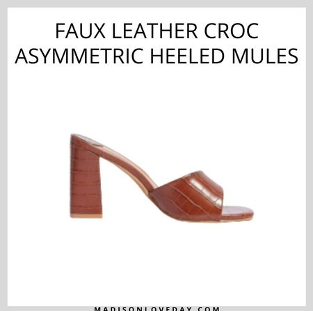 Faux Leather Croc Asymmetric Heeled Mules  These mules come in faux leather and feature an open, square toe, flat sole, block heel, asymmetric strap, and croc-embossed, slip-on design.   #LTKseasonal