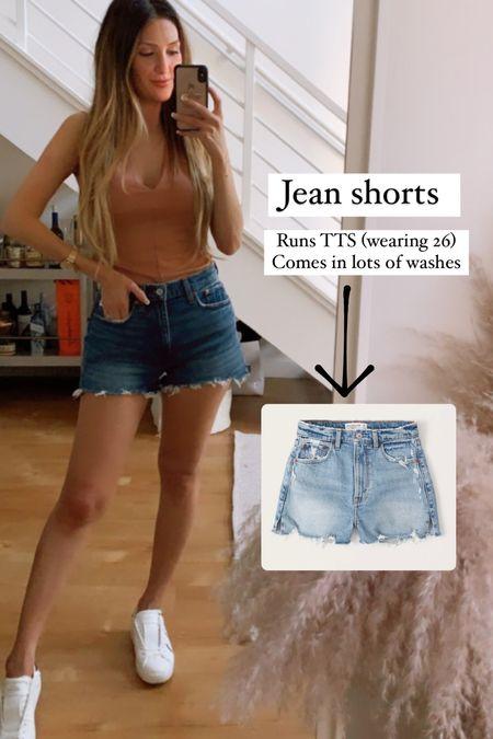 Jean shorts (wearing dark wash) Comfortable Jean shorts  Abercrombie jeans on sale  Casual style  Valentino sneakers Run TTS wearing 38/8  Summer outfit  4th of July   #LTKunder50 #LTKshoecrush #LTKsalealert