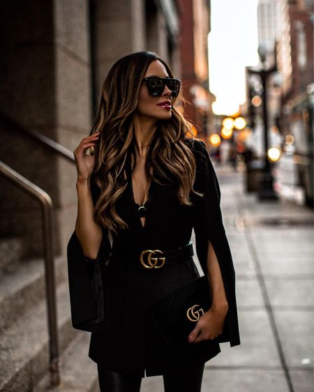 Fall date night outfit  Similar black blazer Faux leather pants  Gucci belt  #datenight  #LTKunder100 #LTKstyletip #LTKSeasonal