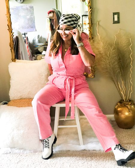 Styling my pink jumpsuit street style!  Love adding my white combat boots! Retro pink sunglasses. An a head scarf! Maybe next with some fun sneakers! How would you stye this?  . . . . . . . . http://liketk.it/3dbAx #LTKcurves #LTKshoecrush #LTKstyletip #liketkit @liketoknow.it.brasil @liketoknow.it.family @liketoknow.it.europe @liketoknow.it.home @liketoknow.it Follow me on the LIKEtoKNOW.it shopping app to get the product details for this look and others