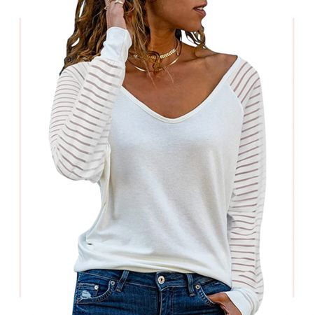 Breezy style for beach vacation or casual date nights. This v-neck top is so cute with its long sleeves and sheer stripes. Choose from white or a variety of colors. Also available in short sleeves for Summer!  Amazon Women's top.  #kimbentley #amazonfashion  #LTKunder50 #LTKstyletip