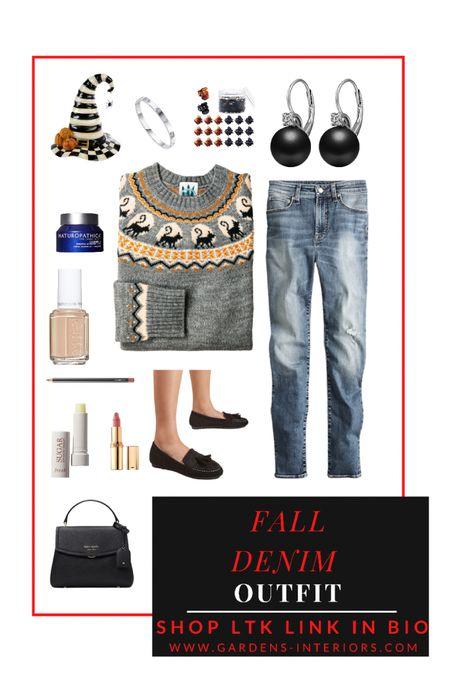Fall denim outfit   #falloutfits #halloweendecor #jcrew #jeans #katespade #mackenziechilds   #LTKstyletip #LTKSeasonal #LTKHoliday