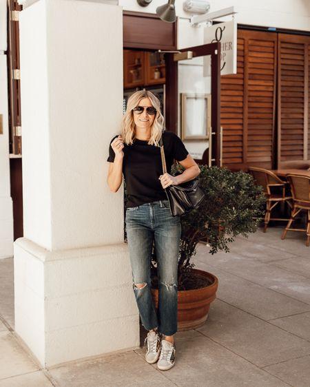 Cutest basic black t-shirt paired with denim and golden goose 🖤 @liketoknow.it http://liketk.it/39sR0 #liketkit #LTKunder50 #LTKunder100 #LTKstyletip #onesmallblonde