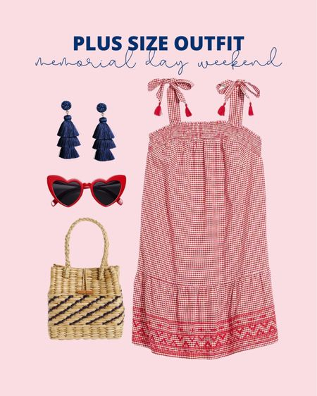 This plus size summer dress is perfect for Memorial Day weekend or as a 4th of July outfit!   #LTKstyletip #LTKunder50 #LTKcurves