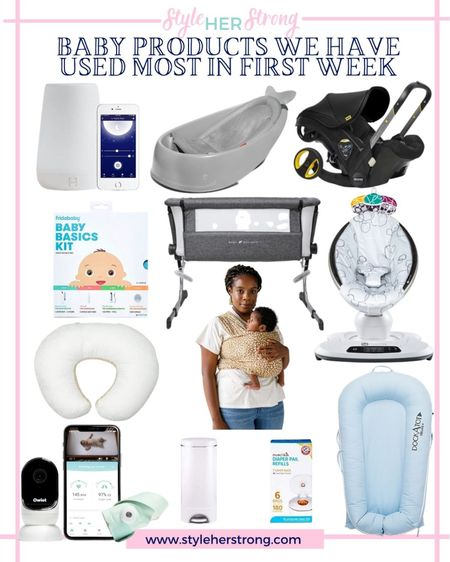 Baby products we used most for our newborn in the first week home   Baby essentials maternity baby registry stroller car seat infant swing bassinet infant carrier baby monitor   #LTKbump #LTKbaby #LTKfamily