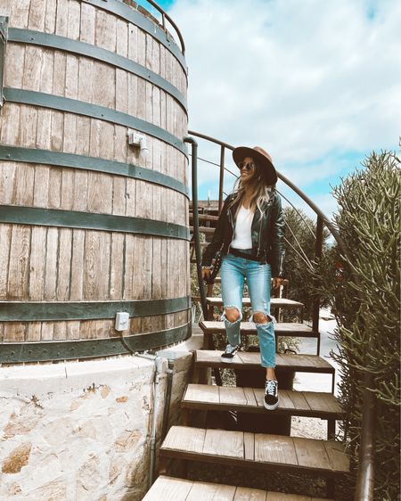 Distressed mom jeans. White sweater. Animal print Vans. Flat brim hat. Leather jacket is Zara but linked similar options! Urban outfitters. American Eagle. Abercrombie and Fitch. http://liketk.it/3fNoS @liketoknow.it #liketkit #LTKfit #LTKstyletip #LTKtravel