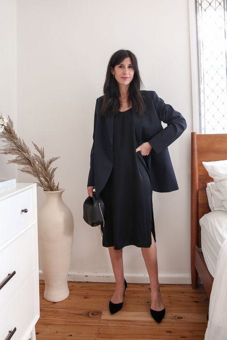 Black silk slip dress with oversized navy blazer and pointed toe pumps - a great summer vacation option 👌🏻  #LTKstyletip #LTKSeasonal #LTKaustralia