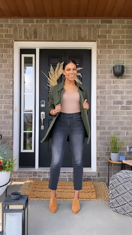 Favorite color - green shacket! These jeans are EVERYTHING. AND loveee these mules so much!