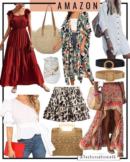 Today's Amazon finds. Maxi dress, swimsuit, kimono, date night white top, and accessories.     http://liketk.it/3gQ1j #liketkit @liketoknow.it #LTKtravel #LTKstyletip #LTKunder50