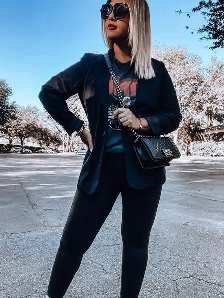 Black blazer, Spanx leggings, anine bing tee, Chelsea boots, Chanel boy bag   #LTKSale #LTKsalealert #LTKSeasonal