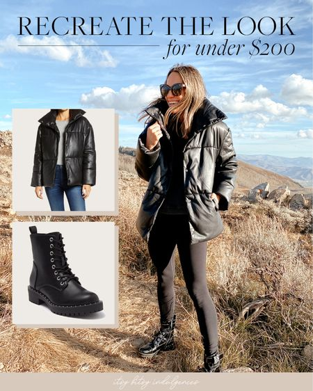 Recreate this entire look for under $200 Faux leather puffer jacket  Combat boots  Faux leather leggings  Oversized black sweater   #LTKunder50 #LTKstyletip