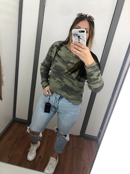 This long sleeve camo shirt from Time and Tru is a must have! Under $10 and so comfy!! I'm wearing a medium.  #walmart #walmartfinds #comfy #casual #momjeans #midsize #camo #longsleeve   #LTKcurves #LTKSeasonal #LTKstyletip