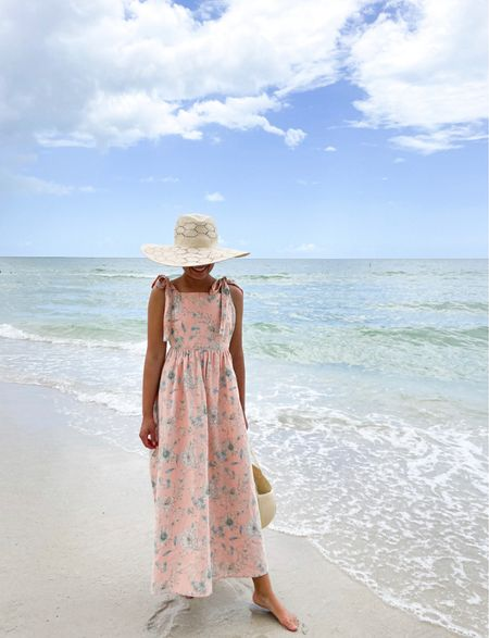 Floral maxi dress and straw hat  #LTKunder50 #LTKstyletip #LTKSeasonal