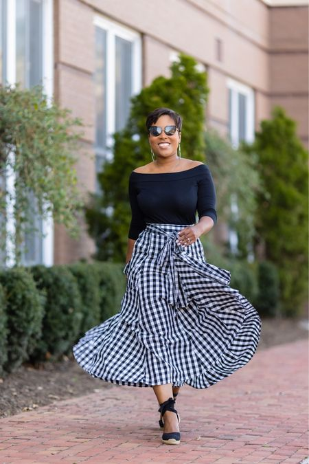 That Friday feeling in gingham maxi skirt off the shoulder top and black sunglasses cate-eye sunglasses #springstyle #skirtoutfit #springoutfit black espadrilles