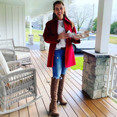 Taking pies on the road in a red wool coat perfect for the holidays!  #LTKfamily #LTKshoecrush #LTKstyletip