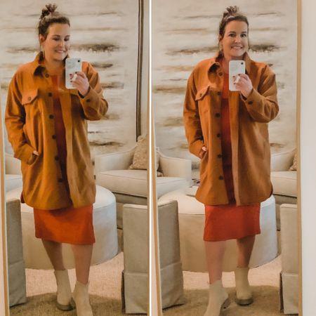 Shacket, Midi Dress & Chelsea Boots  #LTKshoecrush #LTKunder50 #LTKstyletip