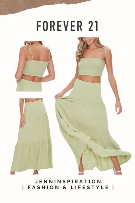 Forever 21 ✨LTK DAY SALE✨   Smocked crop top Tiered midi skirt   summer, summer sale, summer outfits, summer time, beach day, casual day, girls night out, date night, cute, trendy, aesthetic, soft girl, picnic, travel, spring time, easy to wear, crop top skirt set, forever 21 sale, ltkday http://liketk.it/3hzjh    #liketkit @liketoknow.it #LTKsalealert #LTKshoecrush #LTKstyletip Follow me on the LIKEtoKNOW.it shopping app to get the product details for this look and others