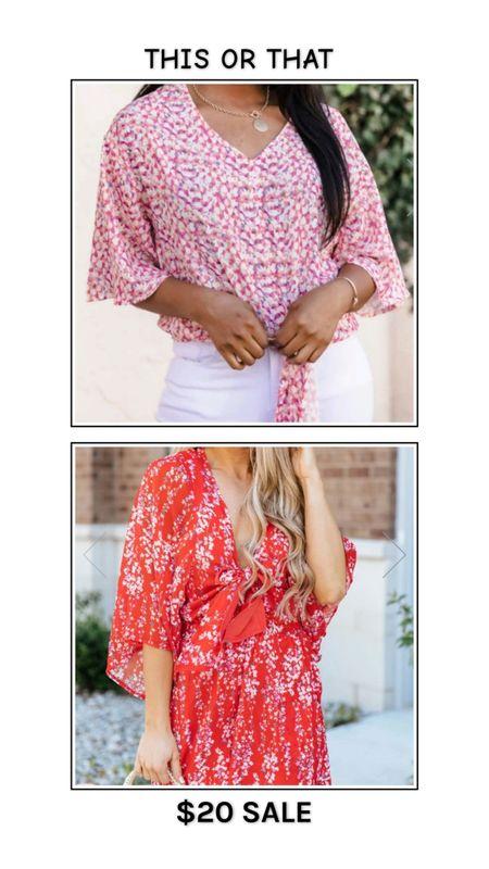 Pink Lily Boutique $20 sale - limited time! Floral top or floral romper. Bright floral print tie front top, blouse, red small flower print tie front romper. http://liketk.it/3fktv @liketoknow.it #liketkit #LTKsalealert #LTKunder50 #LTKunder100 #LTKtravel #LTKworkwear