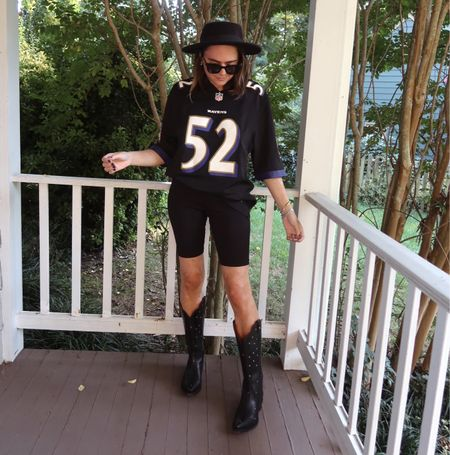Tailgate style. Baltimore ravens. Black cowboy boots. Ranch road boots. Rebecca Piersol style. Fall style. Fall outfit. Football outfit.   #LTKunder50 #LTKSeasonal #LTKstyletip