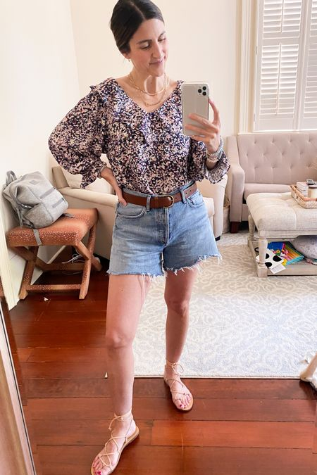 Amazon Top! $30 runs TTS. Available in lots of colors/patterns. Paired with Agolde shorts. Madewell sandals, Madewell belt. Gorjana everyday jewelry.   #momstyle #boymom #coolmomstyle  #amazonfashion #amazonfind #founditonamazon   #LTKunder50